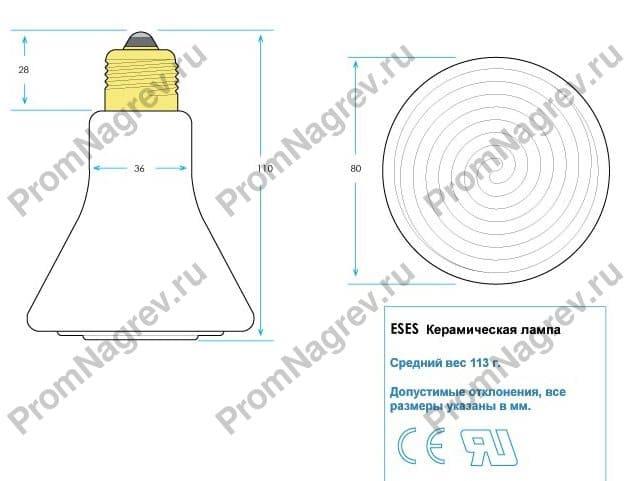 Керамические лампы инфракрасного излучения ESES