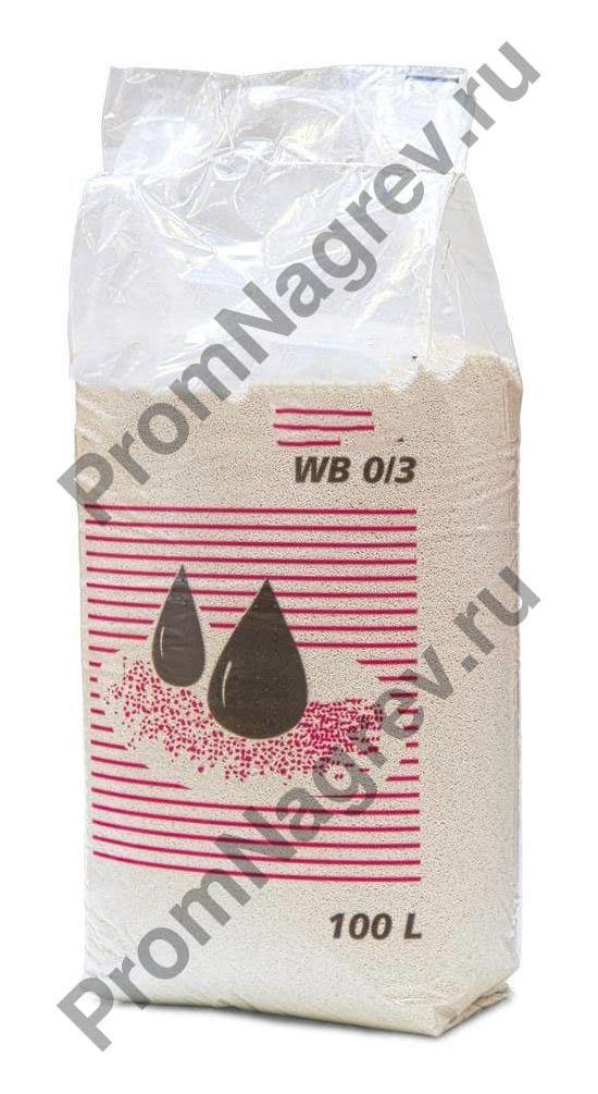Сорбент в виде нетонущих гранул, без ЛОС, расфасованный в пакеты по семь килограмм.
