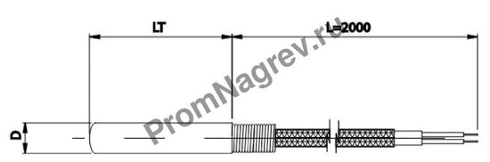 Цилиндрическая термопара диаметр от 5 до 8 мм, термоэлемент тип J, провод 2000