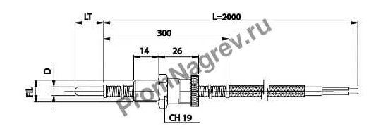 Корпусная термопара с байонетом диаметр от 5 до 6 мм, термоэлемент тип J, провод 2000