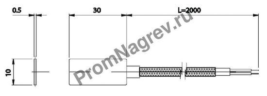 Корпусная плоская поверхностная термопара диаметр 5 мм, термоэлемент тип J