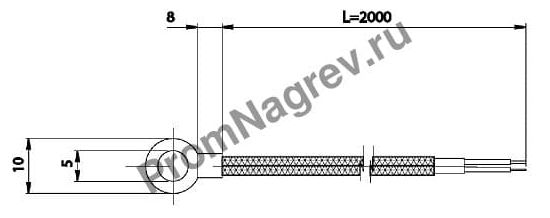 Корпусная кольцевая термопара  диаметр 5 мм, термоэлемент тип J