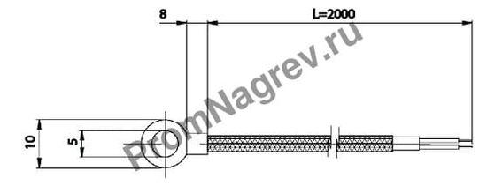 Корпусная поверхностная кольцевая термопара диаметр 5 мм, термоэлемент тип J