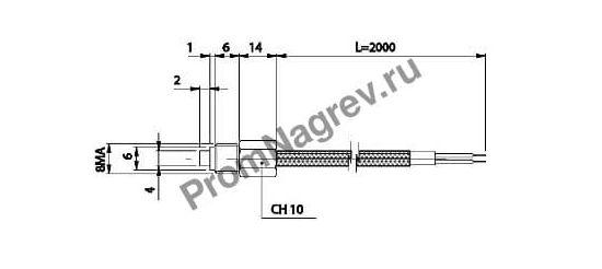 Корпусная резьбовая термопара  диаметр 4 мм, термоэлемент тип J, провод 2000