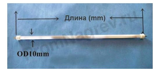 Инфракрасный нагреватель кварцевый трубчатый диаметр 10 мм, мощность до 1500 Вт, молочное стекло, плоский разъём