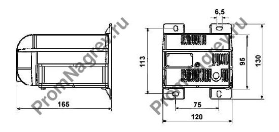 Нагреватели для шкафов автоматики HL 1200(С) и HL 1500(C)  мощность 1200-1500 Вт без или с интегрированным термостатом, чертеж