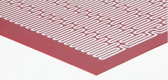 Плоский силиконовый нагреватель с вытравленной плёнкой (вид изнутри)