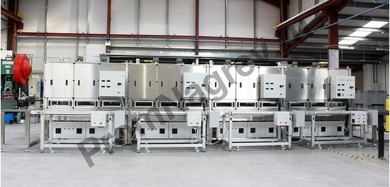 Модульная инфракрасная конвейерная печь на базе керамических нагревателей; общая мощность 51,2 кВт; 4 управляемые зоны нагрева