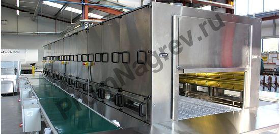 Модульная инфракрасная конвейерная печь на базе керамических нагревателей; общая мощность 51,2 кВт; длина зоны нагрева 8 метров