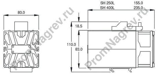 Нагреватели для шкафов автоматики SH 250L и SH 400L мощность 250 и 400 Вт, встроенный вентилятор, чертеж