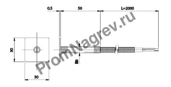 Поверхностная корпусная плоская  термопара диаметр 5 мм, термоэлемент тип J, провод 2000