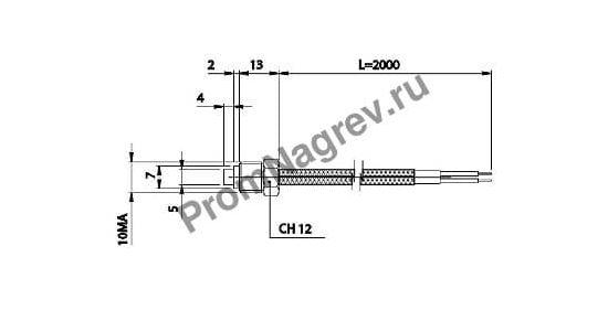 Резьбовая корпусная термопара диаметр 5 мм, термоэлемент тип J, провод 2000