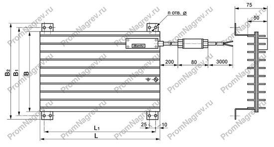 Габаритные и посадочные размеры взрывозащищённых нагревателелй для шкафов автоматики
