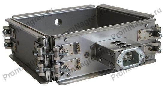 Миканитовый рамочный нагреватель из 4-х нагревательных элементов для фильеры экструдера, 1420 Вт, 230 В, 200 x 200 x 80 мм, с отверстием под ТП