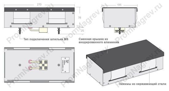 Инфракрасные панели для сушильных печей и камер - габаритные размеры