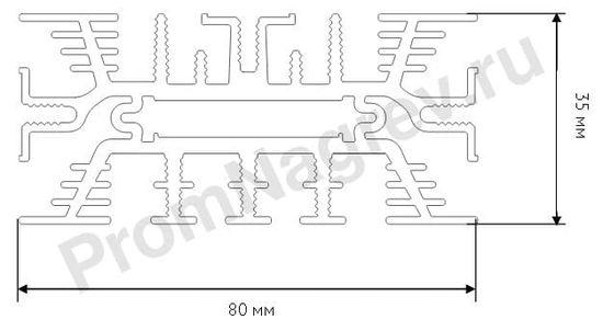 Проекция конвекционных низкотемпературных обогревателей шкафов автоматики SL-SNK-010-00, SL-SNK-020-00, SL-SNK-030-00, SL-SNK-034-00 и SL-SNK-640-00