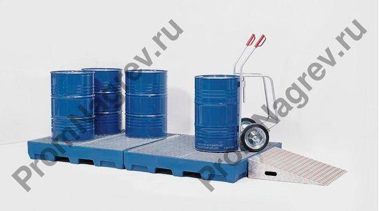 Пример использования поддона с вместимостью пять бочек на 200 литров, поддон под автопогрузчик, решётка есть.