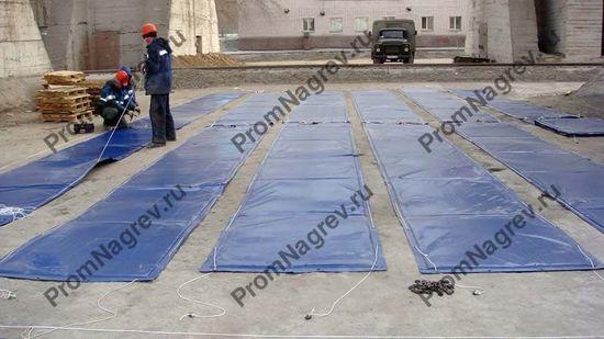Подготовка термоматов к прогреву бетона