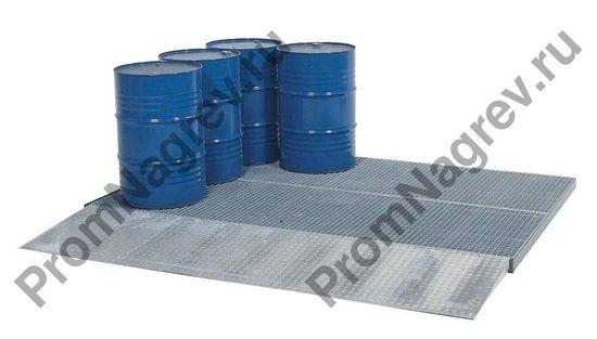 Платформа из оцинкованной стали с решёткой для защиты пола, колесная нагрузка 450 кг, размер 2862x1862x78 мм.