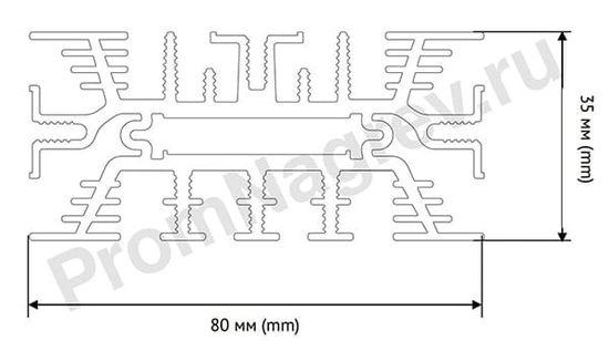 Конвекционный нагреватель для шкафов автоматики SNK-080-10 мощность 75 Вт, размер 80x35x80 мм, вид сверху