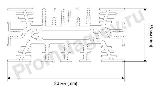 Конвекционный нагреватель для шкафов автоматики SNK-060-10 мощность 60 Вт, размер 80x35x80 мм, вид сверху