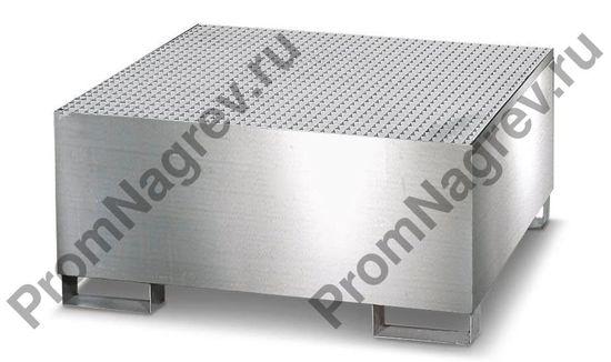 Локализатор розлива вместимостью 4 бочки, нержавеющая сталь, оцинкованная решётка.