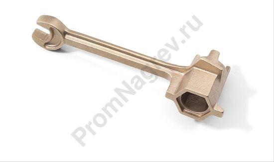 Цилиндрический латунный ключ для отверстий под заглушки с дополнительным рожковым ключом
