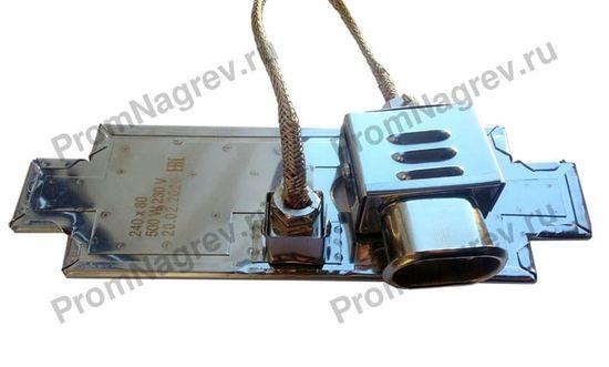 Плоский миканитовый тэн в корпусе из нержавеющей стали 240x80 мм, 500 Вт, 230 В, термостойкий провод на коробе, вилка с коробом
