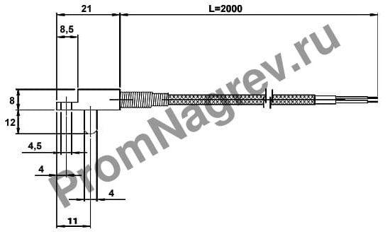 Корпусная втычная поверхностно-пружинная термопара диаметр 4 мм, термоэлемент тип J, провод 2000