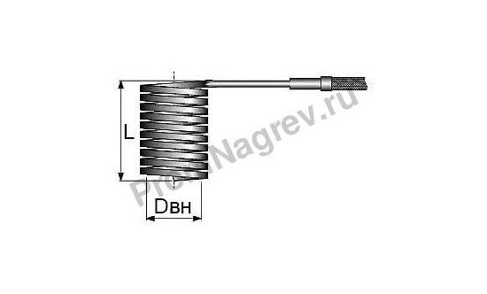 Спиральный нагреватель для нагрева выпускных литников в ГКС сечение 2,2x4,2 мм; 470Вт/230В; с навитием 16x66 мм ПромНагрев