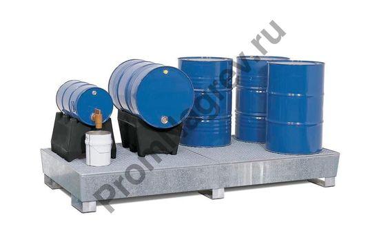 Поддон на восемь бочек штабелируемый, из оцинкованной стали, под паллеты, как осуществляется фасовка вещества.