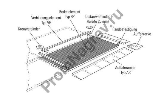 Напольная защитная платформа из стали с оцинковкой, с колесной нагрузкой до 450 кг и размерами 1362x1362x78