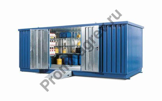 Стальной контейнер со входом, складская площадь 15 кв. м., под опасные вещества