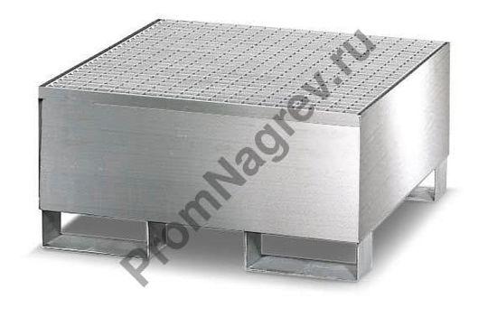 Поддон под одну бочку, корпус и решётка из нержавеющей стали.