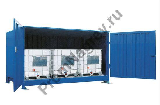 Контейнер-склад, вмещающий три еврокуба (IBC).