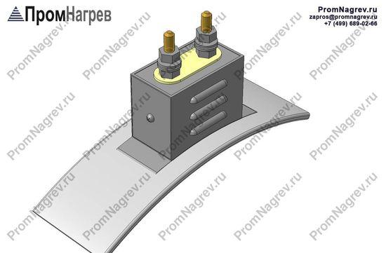 Две шпильки на коробе радиально - подключение хомутового нагревательного элемента
