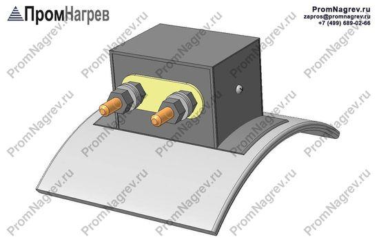 Две шпильки на коробе тангенциально - подключение хомутового нагревателя