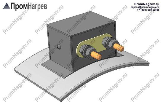 Две шпилики на коробе по оси - подключение хомутового нагревателя