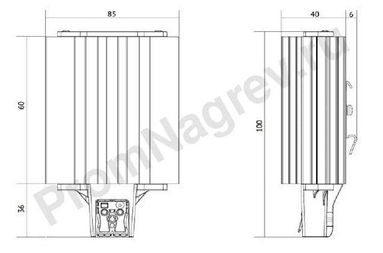 Конвекционный обогреватель шкафов автоматики SNB-060-000 мощность 60 Вт, габаритные размеры