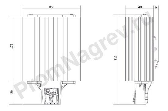 Габаритные размеры обогревателей для шкафов автоматики SL-SNB-180-500 и SL-SNB-210-500