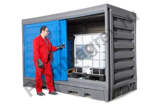 Склад для хранения масел, кислот и щелочей для 8 бочек по 200 литров или 2 контейнеров IBC по 1000 литров, из пластика