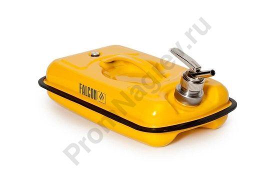 Канистра Falkon для безопасного хранения легковоспламеняющихся и агрессивных веществ, из стали, окрашена, с краном для точной дозировки, 5 литров