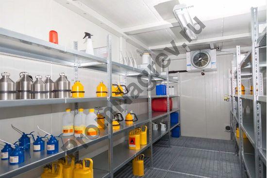 Контейнер для ЛВЖ на 14 кв.м, противопожарный, со входом, высота комнаты 2280 мм, вид изнутри.
