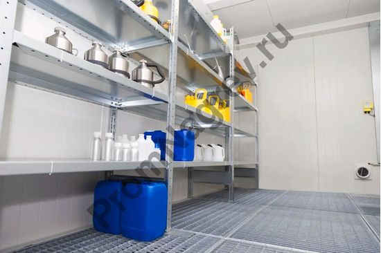 Контейнер для хранения опасных веществ, противопожарный, вид изнутри