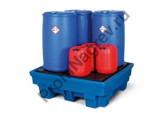Поддон PolySafe Premium PP4 из полиэтилена (PE), для 4 бочек по 200 литров.
