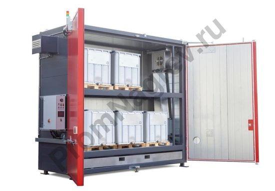 Нагревательная камера на 6 контейнеров IBC или 20 бочек, 2 уровня хранения, электрический обогрев