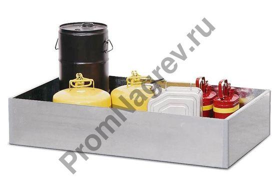Оцинкованный прямой поддон из стали на 1 бочку (200л), в котором стоит различная мелкая тара (тара продается отдельно).