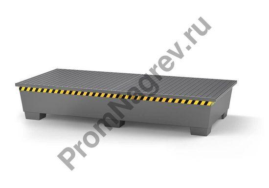 Поддон из окрашенной стали с двумя горячеоцинкованными решётками и ножками, на который можно поставить два евроконтейнера.