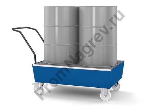 Работа с передвижным сточным поддоном стальным на 2 бочки по двести литров, окрашенным, и с решёткой