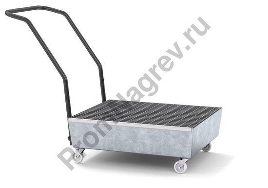Сточный поддон на колёсиках на 2 шестидесятилитровые бочки с решёткой